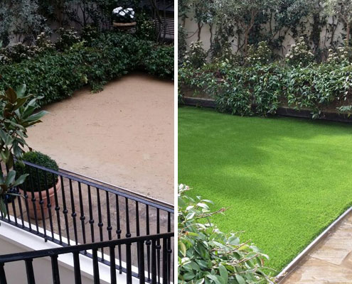 artificial grass before after images cover